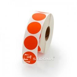 Rola etichete autocolante, semilucioase, transfer termic, rotunde, rosii, 17mm