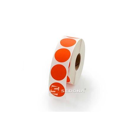 Role etichete semilucioase rotunde rosii 17mm