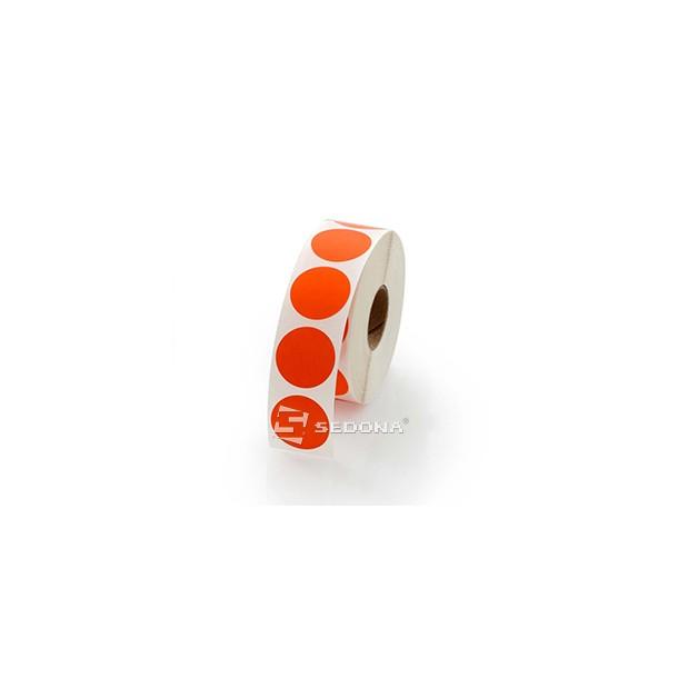 Rola etichete semilucioase rotunde rosii transfer termic 17mm