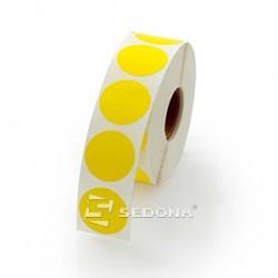 Rola etichete autocolante, semilucioase, transfer termic, rotunde, galbene, 17mm