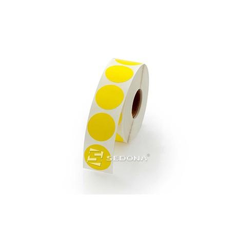 Role etichete semilucioase rotunde galbene 17mm