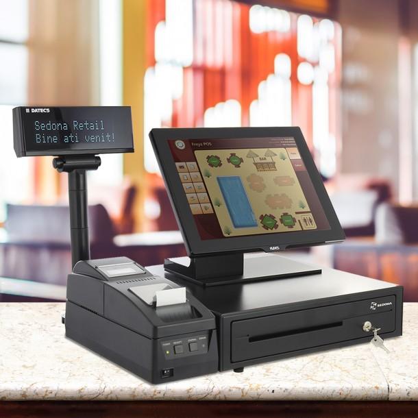 Sistem pentru restaurant - PREMIUM - Cu Imprimanta fiscala, Sertar bani, POS Touch All-in-One Aures, Freya Restaurant