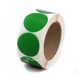 Rola etichete autocolante, semilucioase, transfer termic, rotunde, verzi, 35 mm