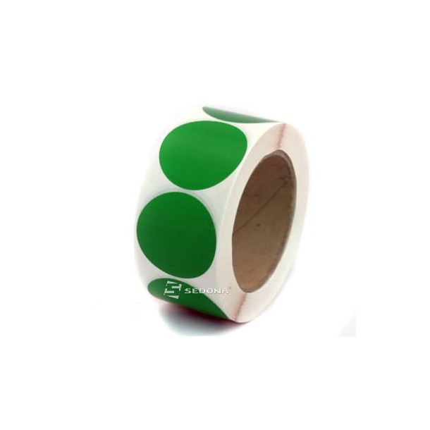 Round Geen Sticker Gloss Label Rolls Thermal Transfer 35 mm