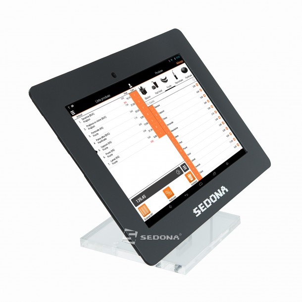 "Desk Stand for 10"" Tablet, Plexiglass, Black, Customizable"