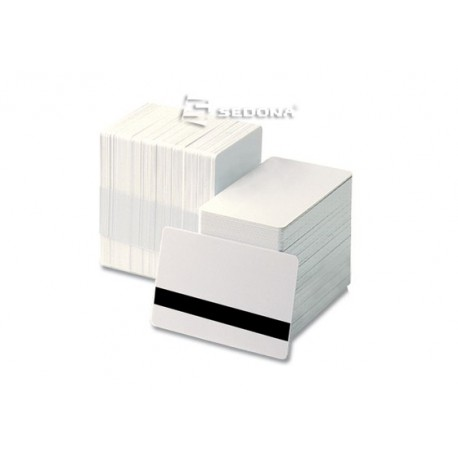 White plastic cards with magnetic stripe - 100 pieces package