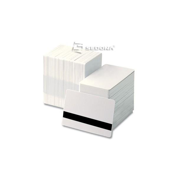 Pachet 100 carduri plastic albe cu banda magnetica