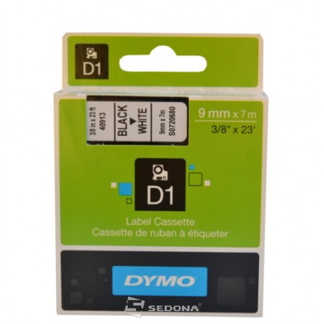Tape Dymo D1 9mm x 7m, black on white