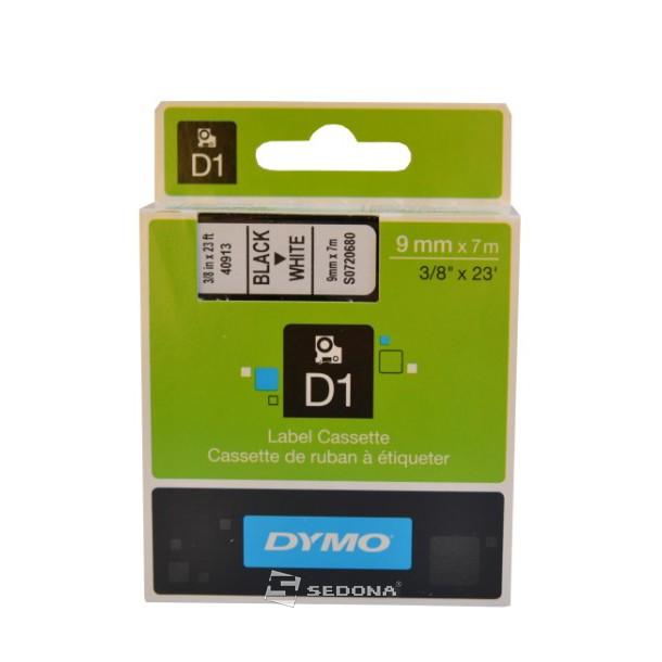 Banda laminata Dymo D1 9mm x 7m Negru/Alb