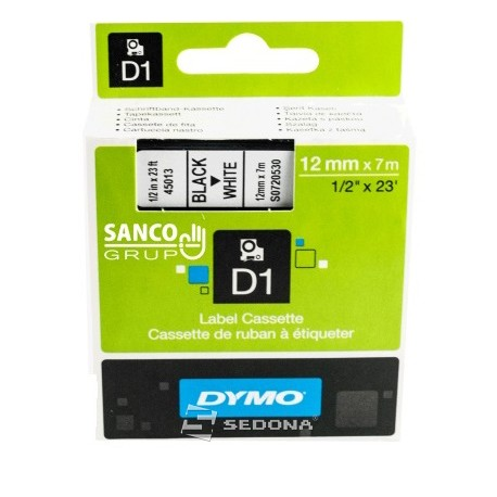 Tape Dymo D1 12mm x 7m, black on white