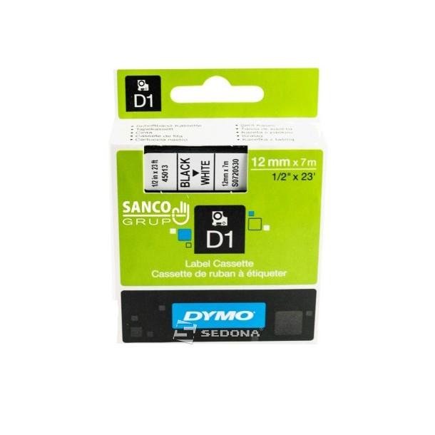 Banda laminata Dymo D1 12mm x 7m Negru/Alb