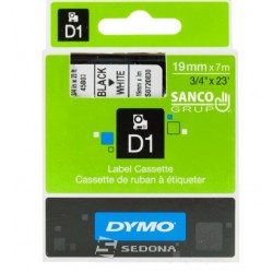 Tape Dymo D1 19mm x 7m, black on white