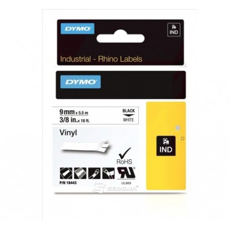 Vinyl Tape Dymo ID1 9mm x 5,5m, black on white