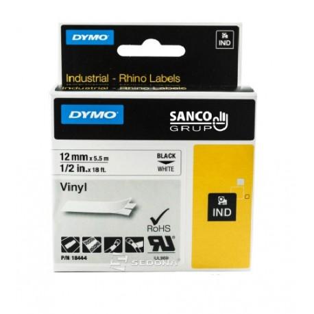 Banda vinil Dymo ID1 Vinil 12 mm x 5,5 m, negru/alb