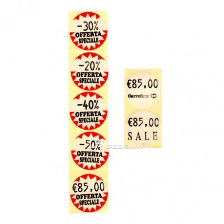Rola etichete pret rotunde 35 mm albe