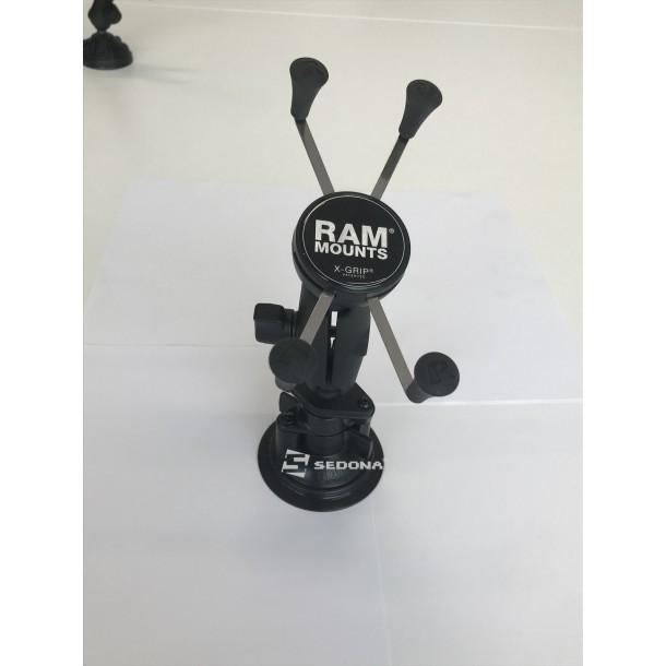 """RAM MOUNT - SISTEM X-GRIP PIVOTANT cu brat metalic si ventuza 8,5 cm pentru dispozitive cu diagonala de maxim 5"""""""