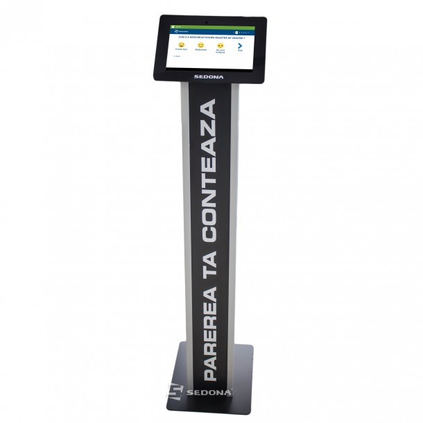 "Feedback and customer survey system with 10 ""tablet and black floor stand"