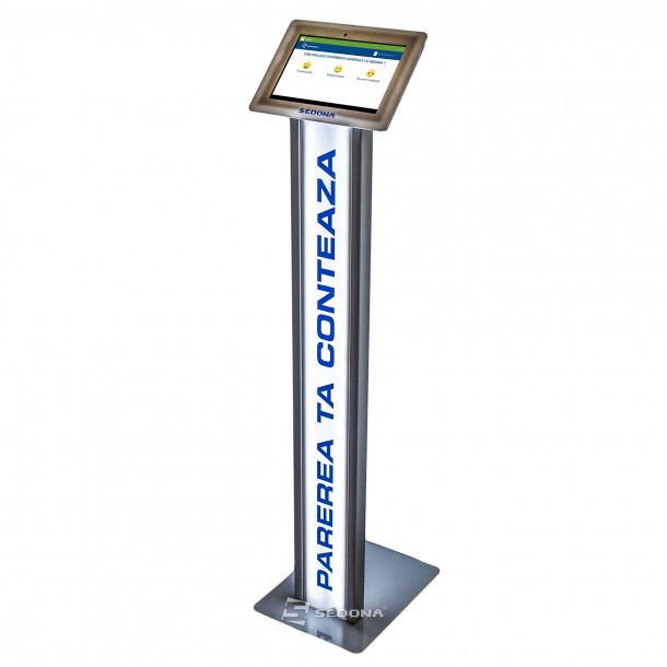 "Sistem feedback si sondaj clienti cu tableta 10"" si stand de podea iluminat"