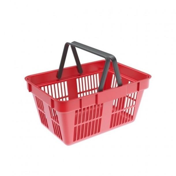 Cos cumparaturi din plastic 22 litri rosu/verde/albastru