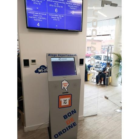 """Sistem de management al cozilor cu kiosk 19"""" si imprimanta"""