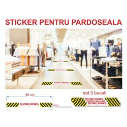 Sticker pardoseala dreptunghiular – PASTRATI DISTANTA – 3 buc