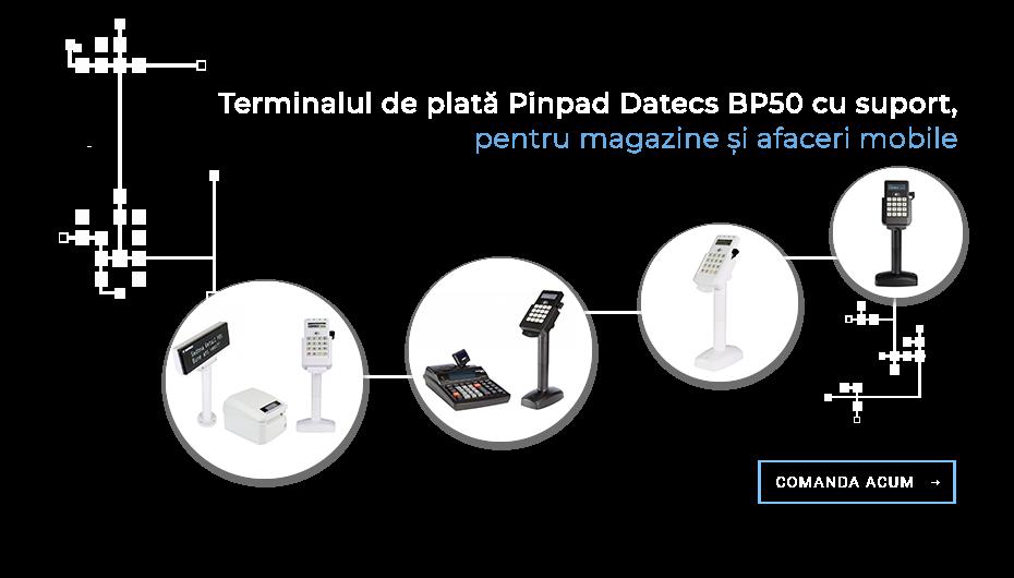 Terminal de plata Pinpad Datecs BP50 cu suport